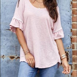 Suzanne Betro Pink Top with Ruffled Sleeve Size XL